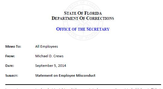 DOC Statement on Employee Misconduct 09 05 2014