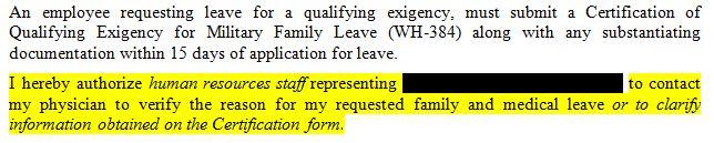 FMLA Form Excerpt